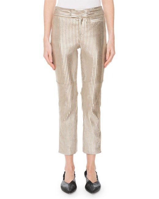 Isabel Marant - Straight-leg Striped Metallic Leather Cropped Pants - Lyst