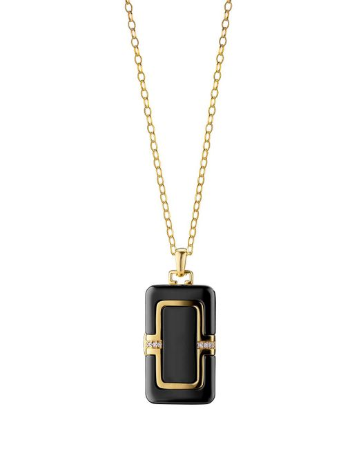 Monica Rich Kosann - Black 18k Ceramic Rectangle Locket With Diamonds - Lyst