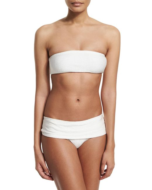 Marie France Van Damme - White Rafia Bandeau Two-piece Swimsuit - Lyst