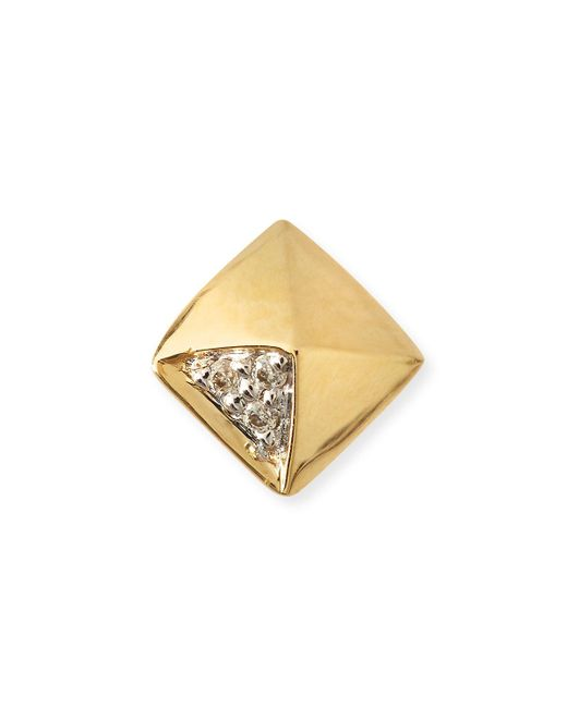 Sydney Evan - Metallic Gold & Diamond Pyramid Single Stud Earring - Lyst