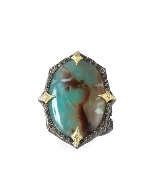 Armenta | Multicolor Old World Aquaprase Oval Cabochon Ring With Diamonds | Lyst