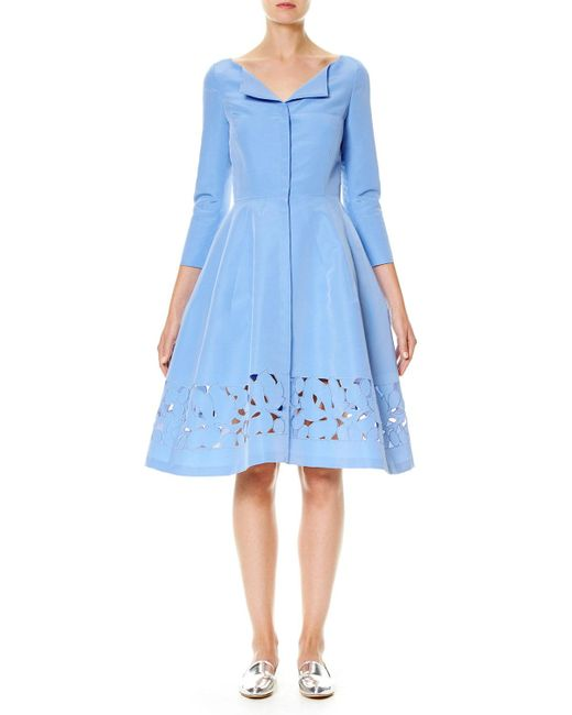 Carolina Herrera | Blue 3/4-sleeve Silk Faille Shirtdress | Lyst