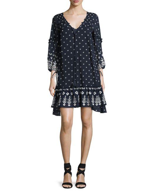 10 Crosby Derek Lam | Blue Bell-sleeve Embroidered Ruffle Dress | Lyst