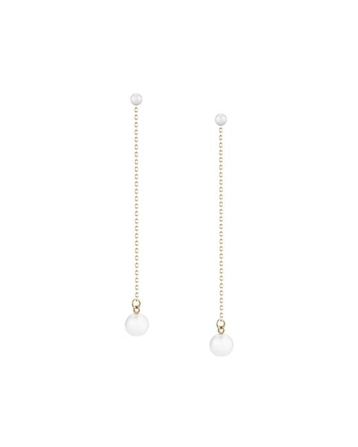Mizuki - White Double-pearl Chain Drop Earrings - Lyst