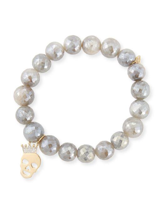 Sydney Evan   10mm Mystic Gray Moonstone Bracelet With Diamond Skull Charm   Lyst