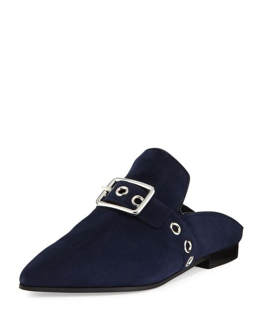 Robert Clergerie | Blue Lopal Suede Buckle Loafer Mule | Lyst