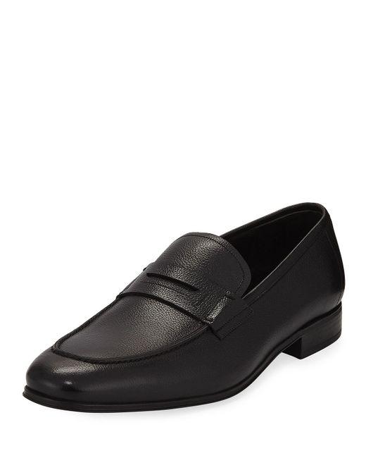 Ferragamo - Black Men's Textured Calfskin Penny Loafer for Men - Lyst