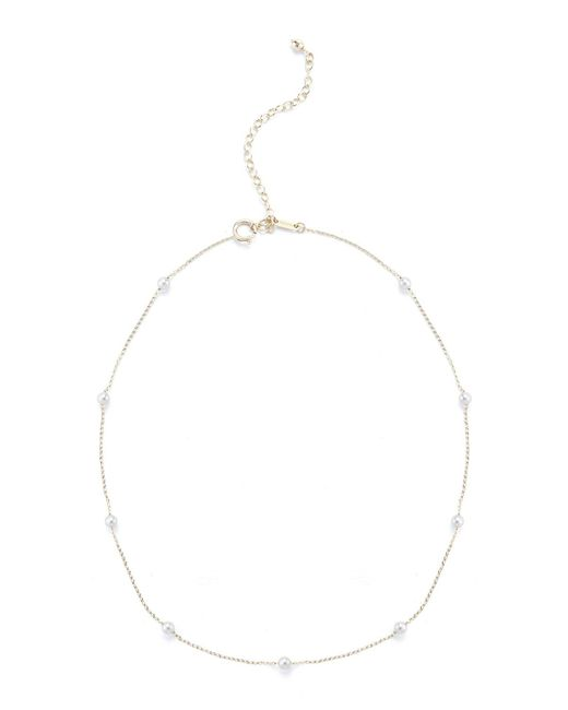 Mizuki - White Pearl Station Chain Choker Necklace - Lyst