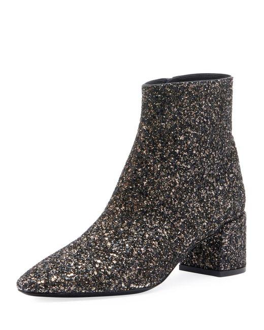 Saint Laurent Black Lou Sequin Boots