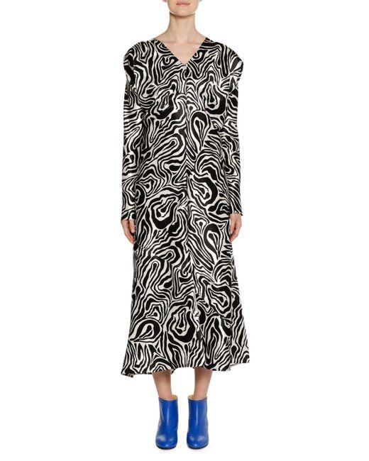 Marni - Black Printed Poplin Midi Dress - Lyst