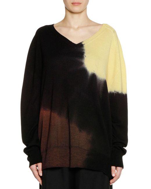 Marni - Black V-neck Long-sleeve Tie-dye Wool Knit Sweater - Lyst