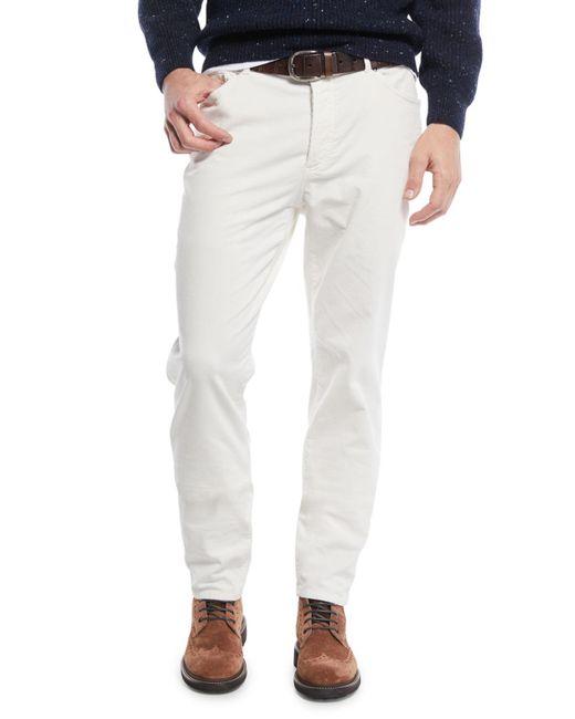 Brunello Cucinelli - White Men's 5-pocket Fine-wale Corduroy Pants for Men - Lyst