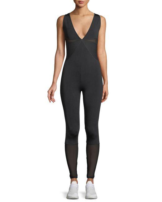 Cushnie et Ochs - Black Mesh-panel Deep V Sleeveless Jumpsuit - Lyst