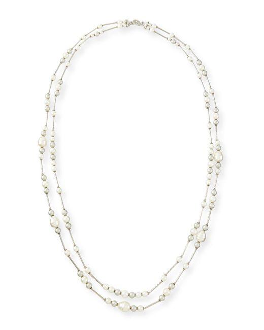 Jose & Maria Barrera | Metallic Double-strand Simulated-pearl Necklace | Lyst