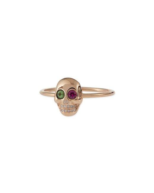 Sydney Evan | Metallic 14k Rose Gold Skull Ring With Ruby & Garnet | Lyst