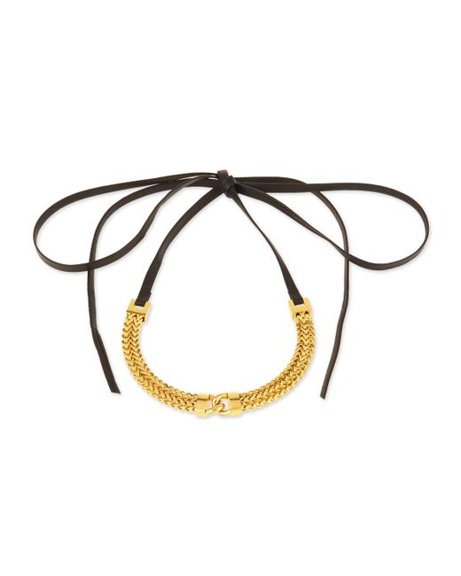 Fallon - Metallic Link-front Leather Choker Necklace - Lyst