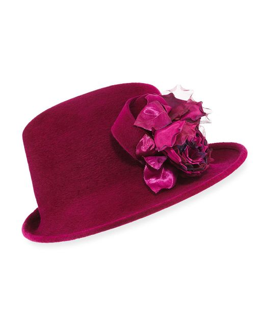 Philip Treacy - Multicolor Side Sweep Velour Hat W/ Rosette - Lyst