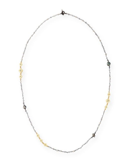 Armenta | Metallic Old World Mystic Moonstone & Keshi Pearl Station Necklace | Lyst