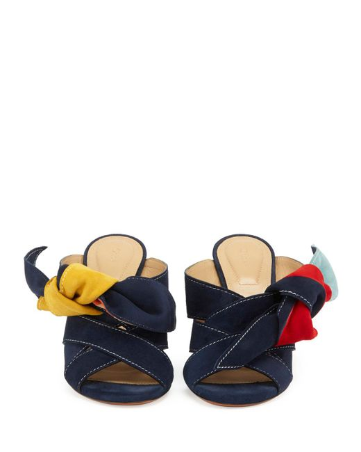 Chloé | Blue Nellie Knotted Suede Mule Sandal | Lyst