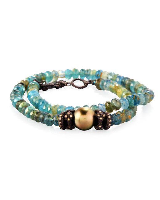 Armenta - Green Old World Beaded Double-wrap Bracelet With Diamonds - Lyst