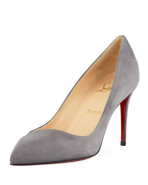 Christian Louboutin - Gray Corneille Suede Red Sole Pumps - Lyst