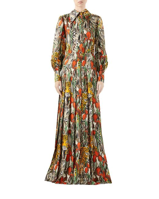 Gucci Multicolor Feline Garden Print Long Sleeve Silk Dress