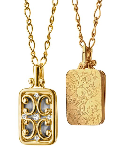 Monica Rich Kosann - Metallic Gate Locket Necklace With Diamonds - Lyst