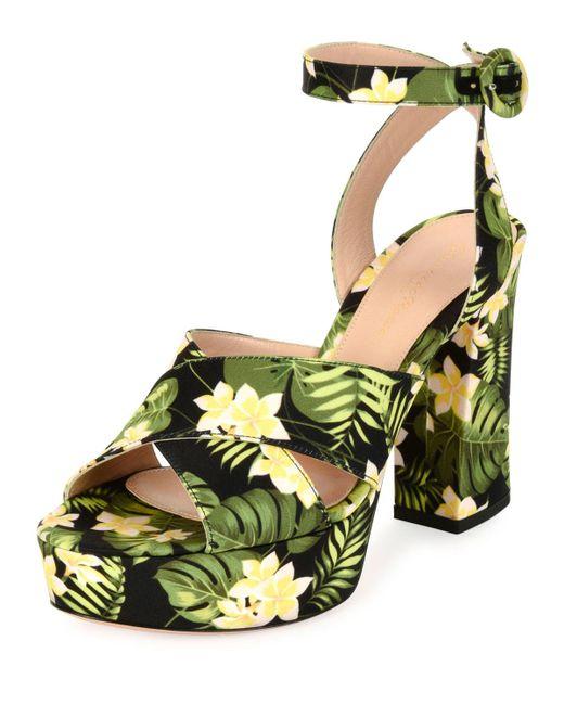 Gianvito Rossi | Multicolor Floral-print Platform Sandal | Lyst