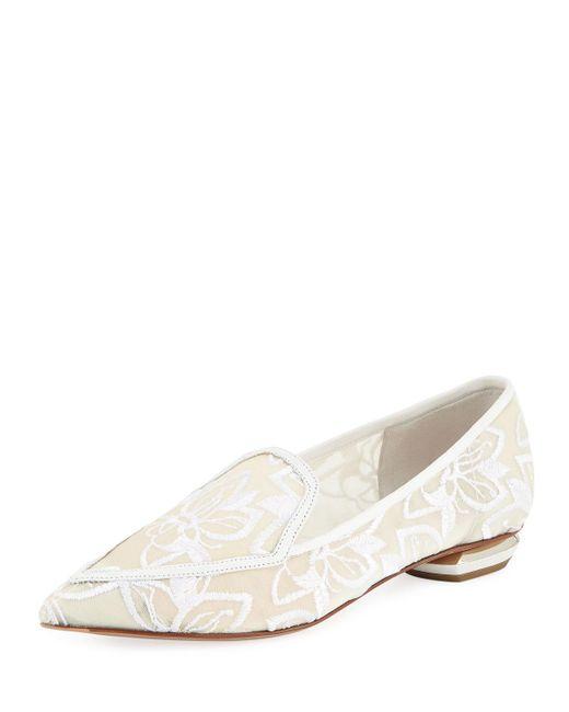 df90d1d3c14 Nicholas Kirkwood - White  beya  Floral Embroidered Metal Heel Mesh Skimmer  Loafers - Lyst ...