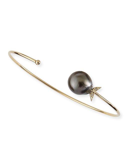 Mizuki - 14k Gold Black Tahitian Pearl Cuff With Diamonds - Lyst