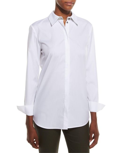 Lafayette 148 New York - White Stretch Cotton Brody Shirt - Lyst