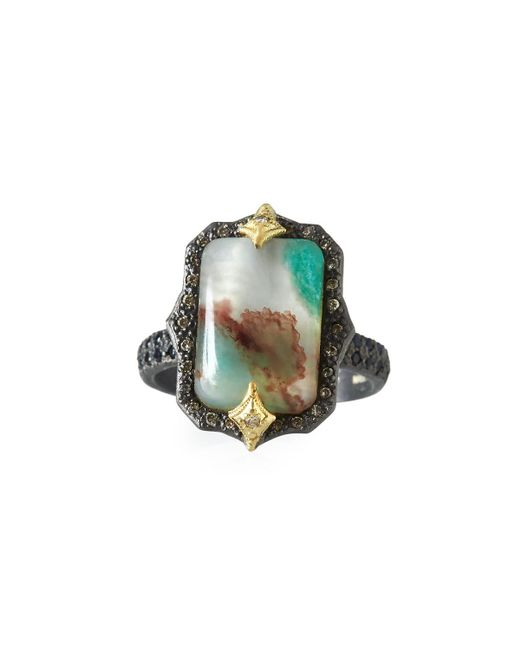 Armenta - Green Old World Aquaprase Emerald-shaped Cabochon Ring With Diamonds - Lyst