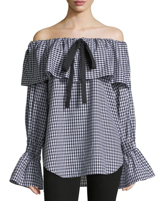 Rejina Pyo - Black Clara Off-the-shoulder Gingham-printed Poplin Blouse - Lyst