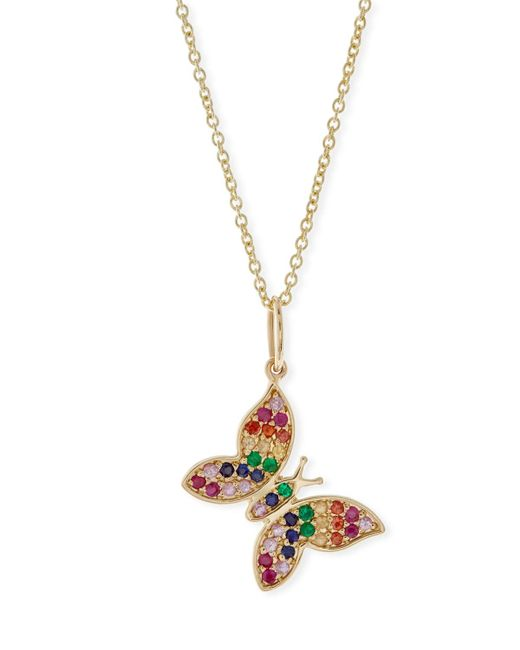 Sydney Evan | Metallic Anniversary Rainbow Butterfly Pendant Necklace | Lyst