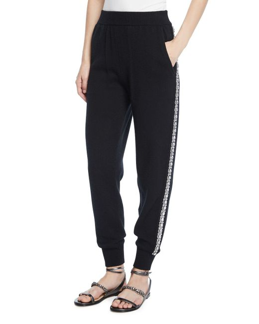 Michael Kors - Black Cashmere Crystal-striped Joggers - Lyst