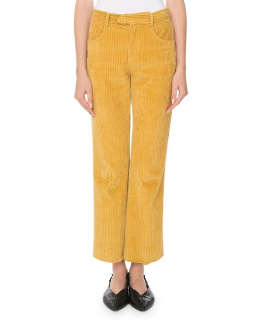 Isabel Marant - Yellow Mid-rise Corded Velvet Straight-leg Pants - Lyst