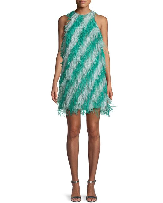 J. Mendel - Green Sleeveless Feather-striped Cocktail Dress - Lyst