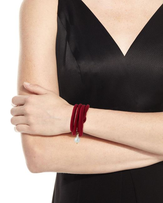 Grazia And Marica Vozza - Black Woven Silk Bracelet With Pearl Charm - Lyst