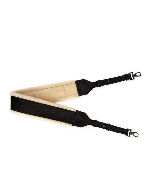 Ferragamo - Black Firenze Glow Leather & Shearling Strap For Bag Or Briefcase - Lyst