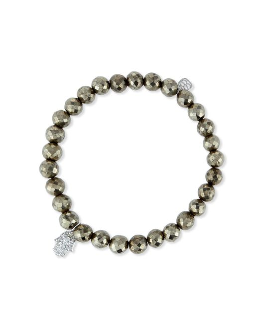 Sydney Evan - Metallic Champagne Pyrite Bead Bracelet W/14k Gold Diamond Hamsa Charm - Lyst