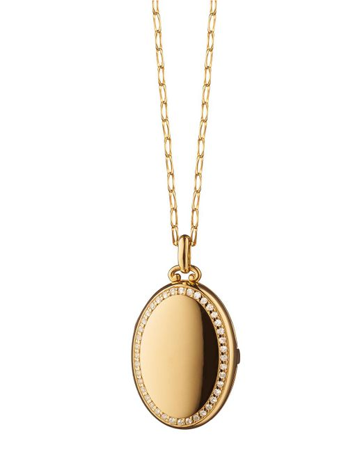 Monica Rich Kosann | Metallic 18k Yellow Gold Four-picture Locket Necklace With Diamond Border | Lyst