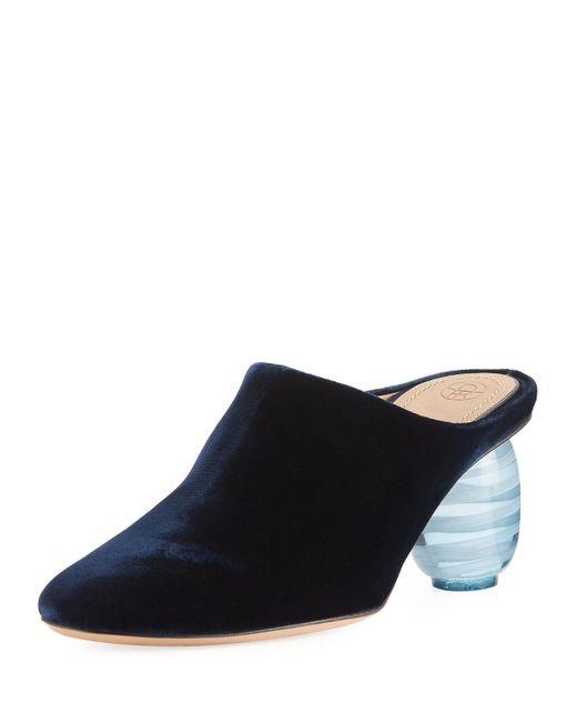 The Row   Blue Adela Velvet Mule Pump   Lyst