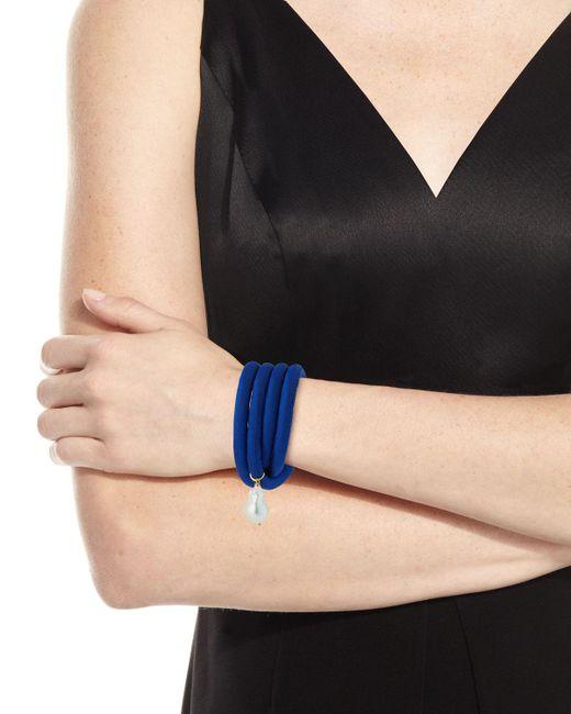 Grazia And Marica Vozza - Black Silk Wrap Bracelet With Baroque Pearl - Lyst