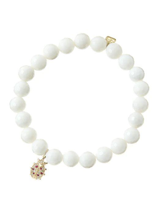 Sydney Evan   8mm Faceted White Agate Beaded Bracelet With 14k Gold/diamond Medium Ladybug Charm (made To Order)   Lyst