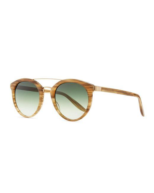 Barton Perreira | Black Dalziel Round Sunglasses With Metal Bar | Lyst