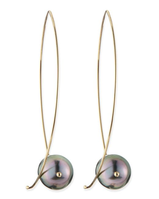 Mizuki | Metallic 14k Gold Black Tahitian Pearl Earrings | Lyst