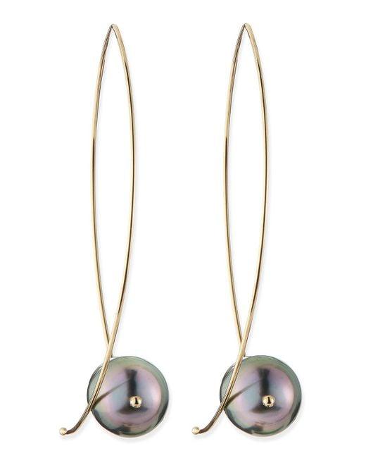 Mizuki | Metallic 14K Gold Black Tahitian Pearl Earrings | Lyst