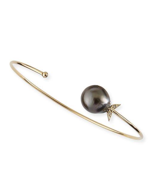 Mizuki | 14k Gold Black Tahitian Pearl Cuff With Diamonds | Lyst