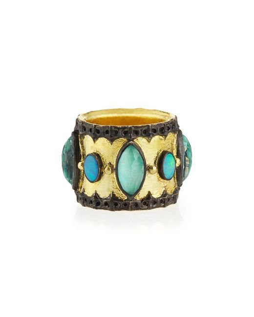 Armenta | Green Turquoise & Opal Band Ring | Lyst