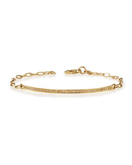 Sydney Evan | Metallic 14k Gold Thin Diamond Bar Bracelet | Lyst